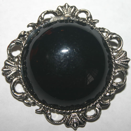 Black Stone Silvertone Pin Brooch