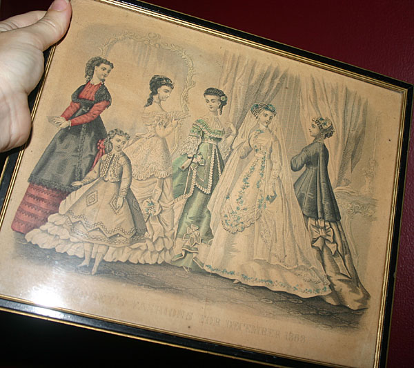 Vintage Victorian Fashions Print Hand Tinting 1868