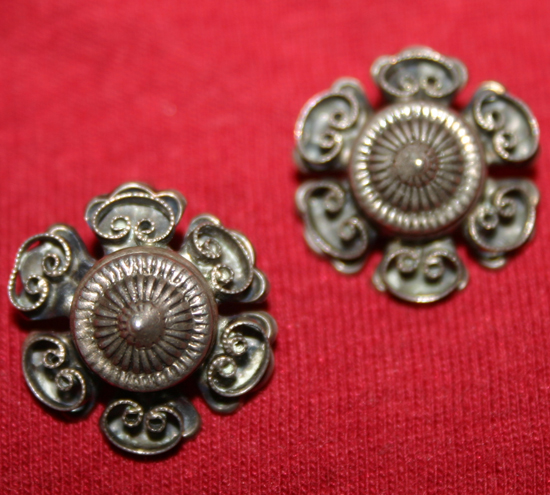 Vintage Sterling Silver Clip-On Bali Design Earrings