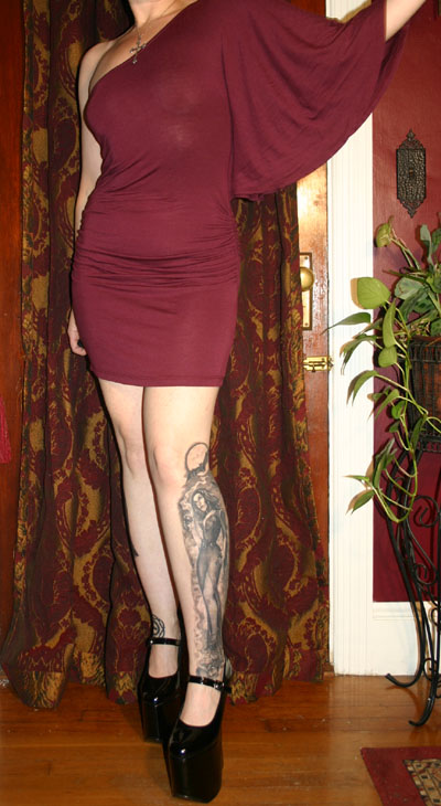 Sexy Burgundy One Sleeve Clubbing Dress Small