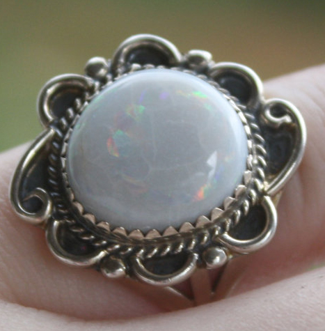 Vintage Genuine White Fire Opal Sterling Silver Ring 5