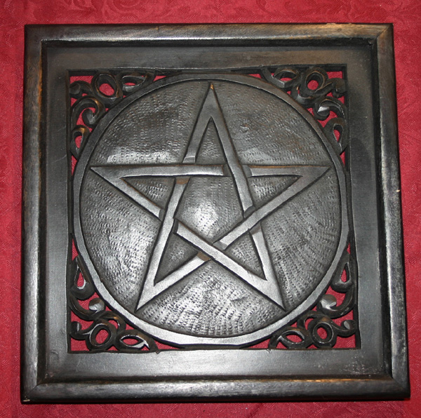 Wiccan Pagan Large Wood Pentagram Wall Hanging