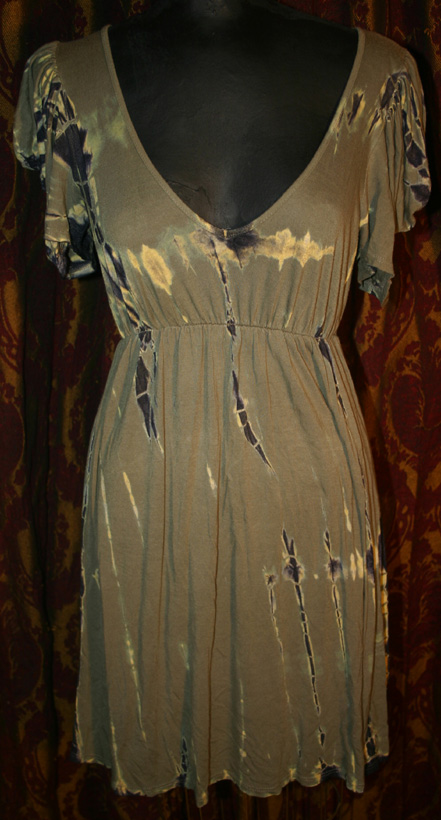 Vintage Army Green TIe Dye Mini Dress Sz Medium