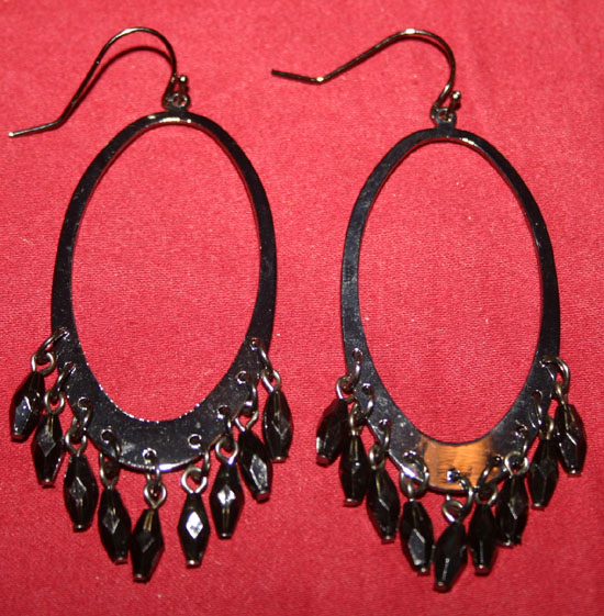 Vintage Gunmetal Black Beads Long Dangle Earrings