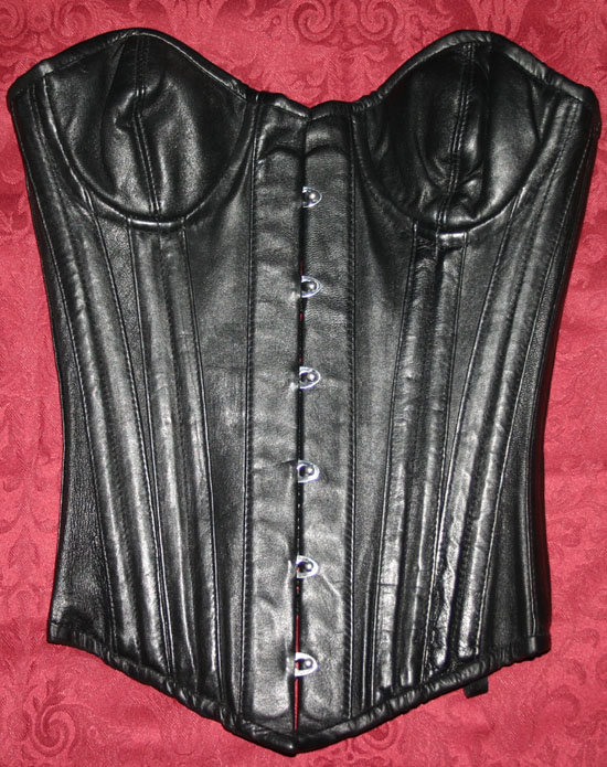 Genuine Calf Skin Leather Black Steel Boned Corset Sz 22