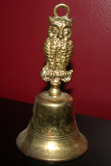 Vintage Wiccan Brass Owl Bell for Altar Ritual Practice