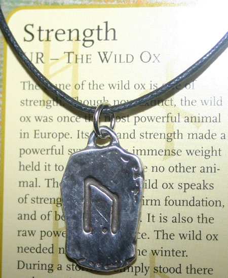 Viking Runestone Pendant for Strength Wild Ox