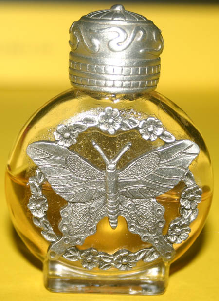 Pewter Glass Perfume Oil Bottle Butterfly