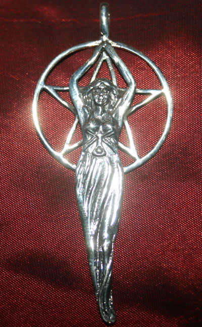 Sterling Silver Large Pentacle of The Goddess Pendant
