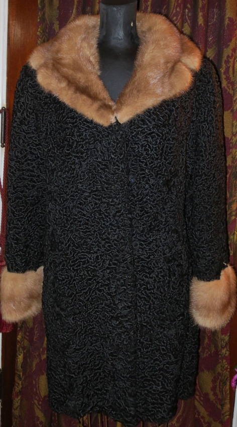 Vintage 1950s Persian Curly Lamb Coat Mink Fur Collar Med