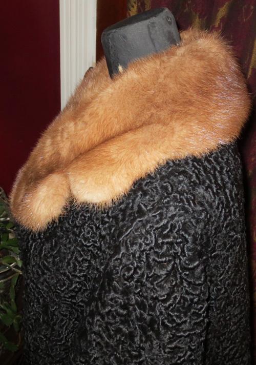 Vintage 1950s Persian Curly Lamb Coat Mink Fur Collar Med