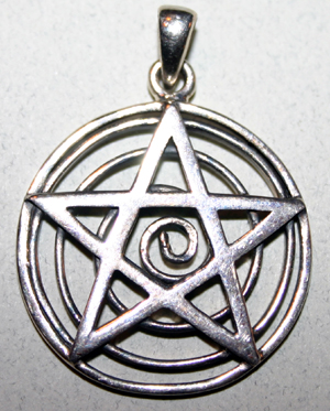 Sterling Spiral of Life Pentagram Pendant