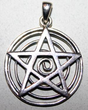 Sterling Silver Spiral of Life Pentagram Pendant