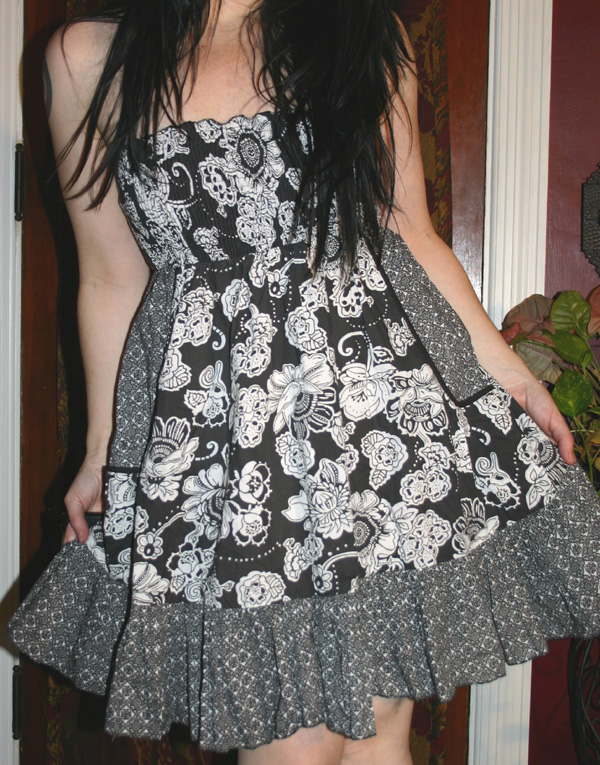 Black White Floral Cotton Strapless Summer Dress M