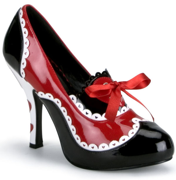 Queen of Hearts 4 Inch Red Black Heels
