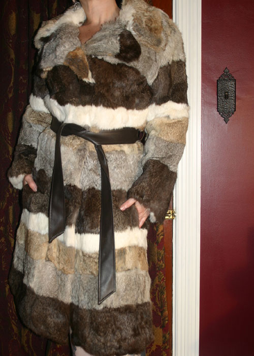 Vintage Long Striped Rabbit Fur Fitted Coat w/Belt