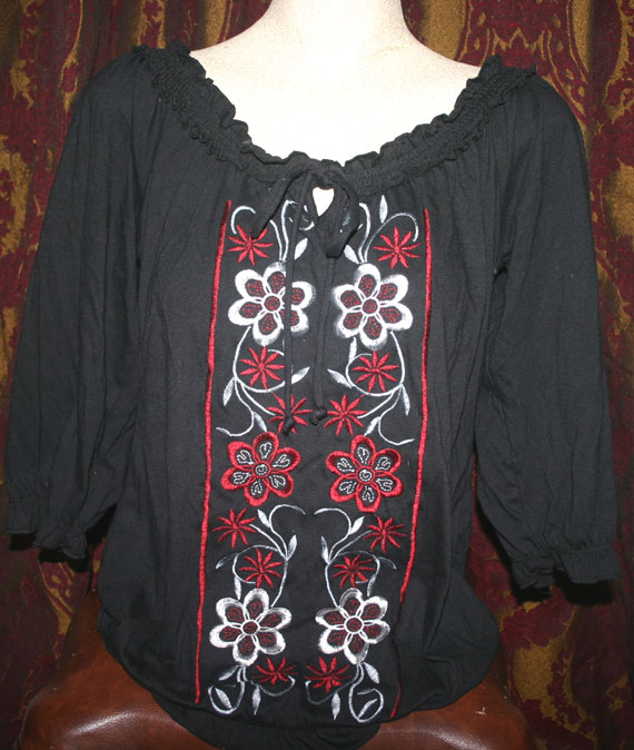 Black Red Summer Peasant Top Small Medium