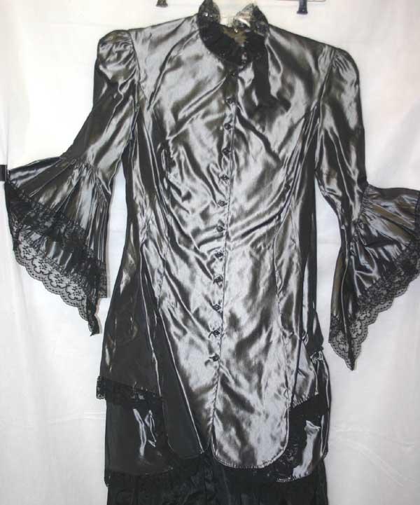 Victorian Gothic Lolita Steampunk Silver Taffeta Bustle Gown