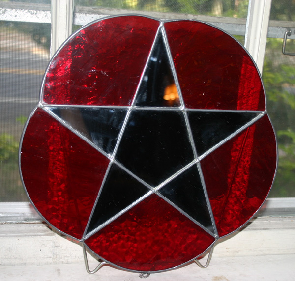 Vintage Wiccan Red Stained Glass Pentagram Mirror