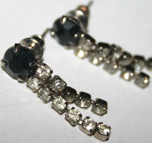 Vintage Black Diamond Rhinestone Earrings