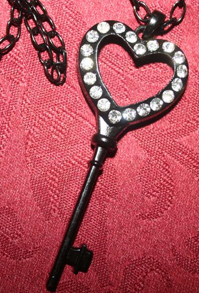 Black Rhinestone Heart Skeleton Key Necklace