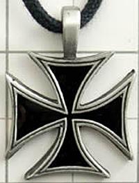 Punk Goth Pewter German Maltese Cross Pendant