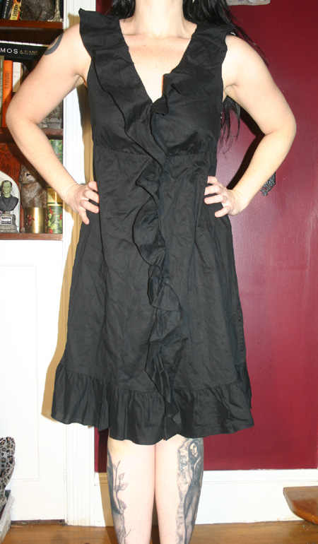 Black Gothic Holiday Ruffle Dress by Gap S/M