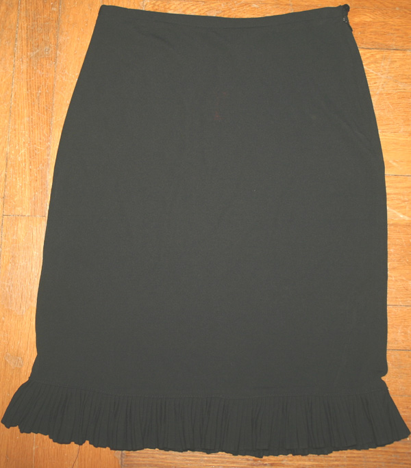 DKNY Witchy Knee Length Black Ruffle Hem Skirt S