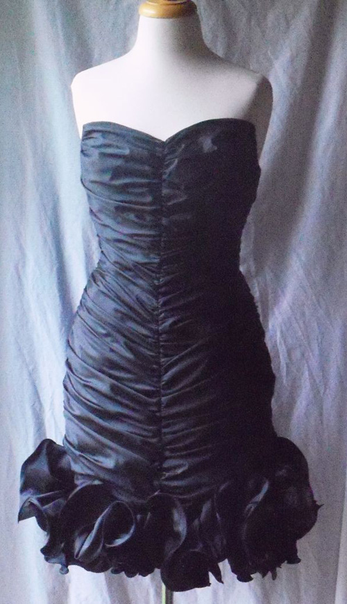 Vintage Black Strapless Corset Cocktail Dress Med Lg