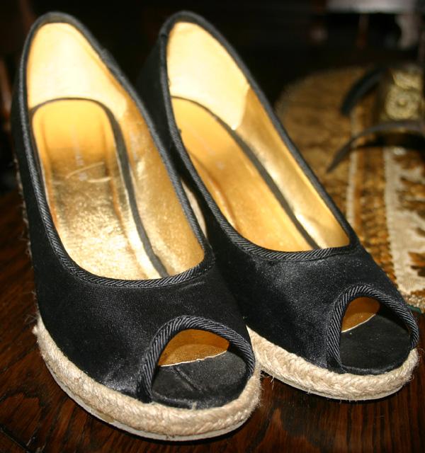 H&M Black Satin Espadrilles Wedge Sandals Sz 6