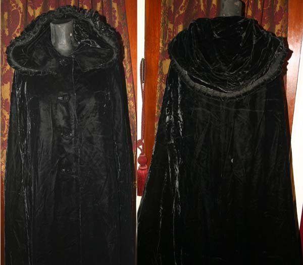 Vintage Saks Fifth Avenue Long Black Velvet Hooded Cape