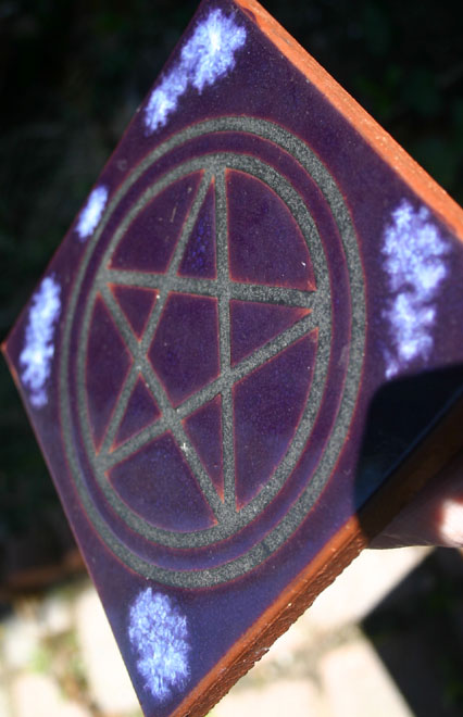 Salem, Mass Purple Pentagram Altar Tile