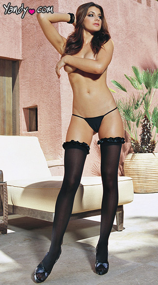 Black Ruffle Top Thigh Hi Stockings