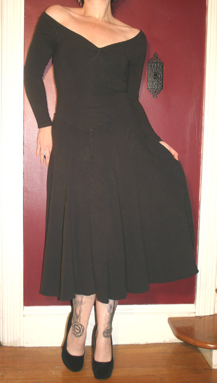 Vintage Capezio Black Scoop Neck Long Dance Dress S