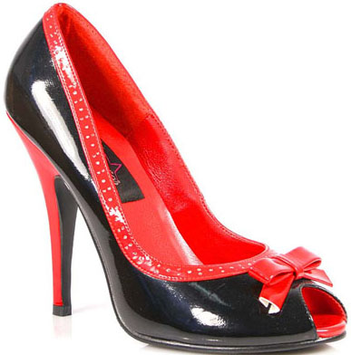 Red Black Patent Peep Toe Bow 5 Inch Heels