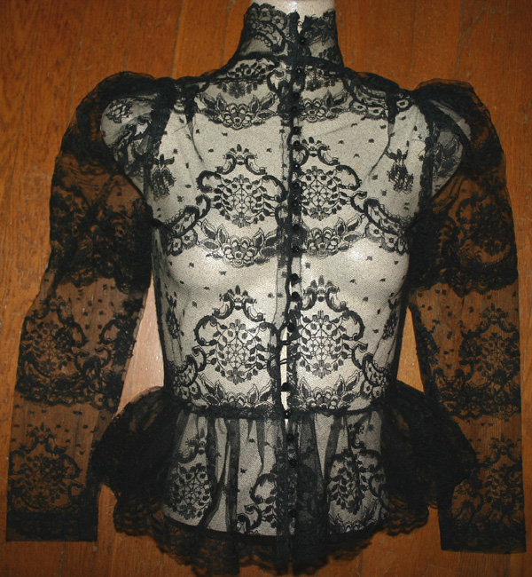 Vintage Victorian Romantic Black Lace Blouse Small