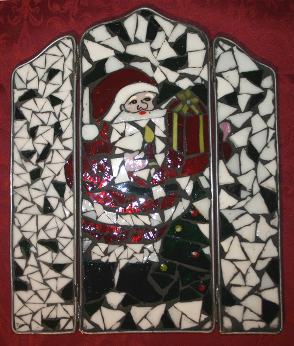 Stained Glass Christmas Santa Claus Decoration