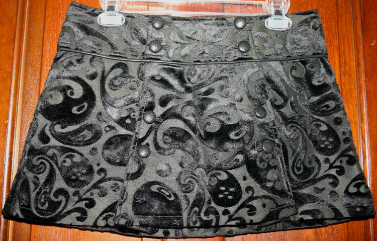 Gothic Lip Service Black Velvet Paisley Mini Skirt S