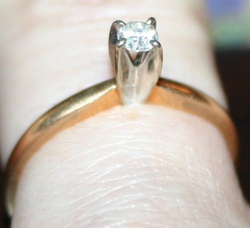 Vintage 14K Gold .10 Carat Diamond Engagement Ring Sz 5