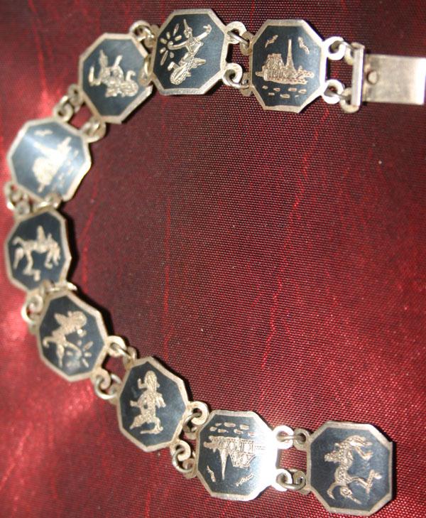 Vintage Sterling Silver Siam Goddess 7 inch Bracelet