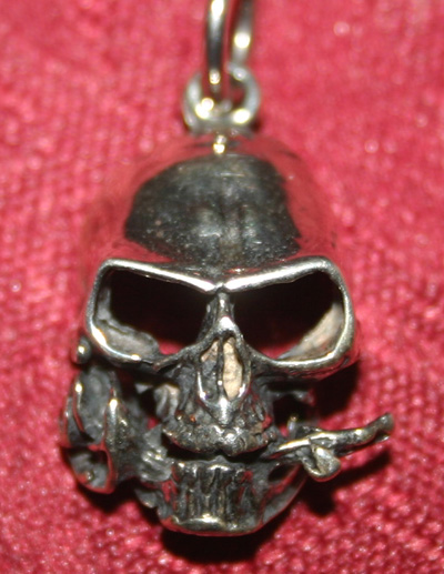 Sterling Silver Gothic Skull w/Rose Pendant