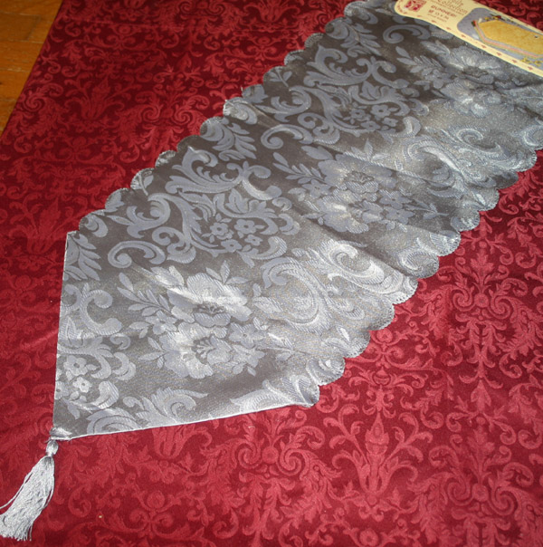 Gothic Victorian Silver Damask Table Runner