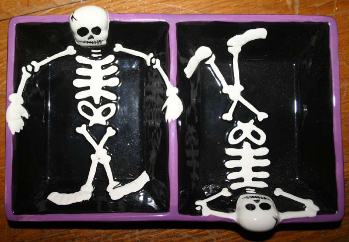Gothic Skeleton Purple Black Halloween Candy Dish