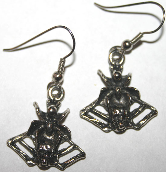 Vintage Spider on Web and Skull Earrings