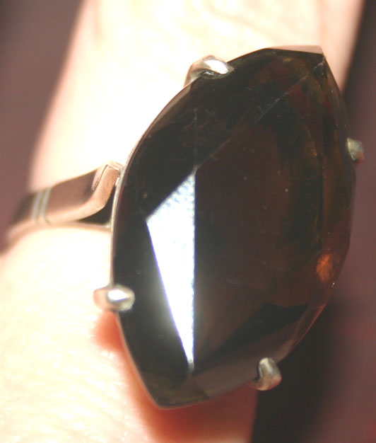 Vintage Sterling Silver Smokey Quartz Topaz Ring 6