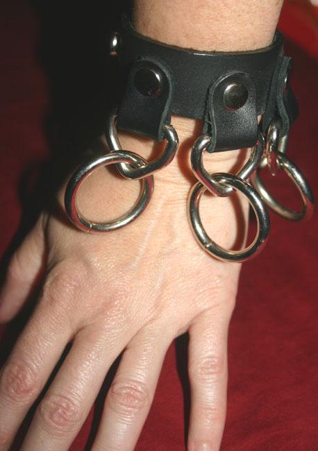 Black Fetish Leather 5-Ring Bondage Cuff