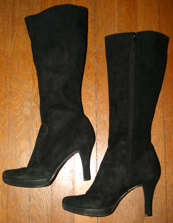 Witchy Black Suede Leather High Heel Knee Boots 7.5
