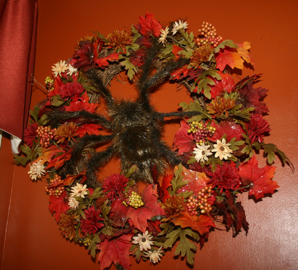 Large Orange and Black Spider Halloween Wreath