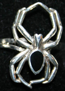 Gothic Sterling Silver Black Widow Spider Ring