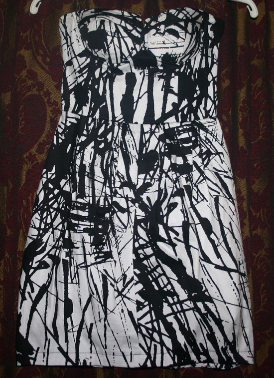 Vintage Punk Paint Splatter Strapless Bubble Dress